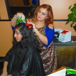 Young woman with black hair receives hair dye service at Shamim Beauty Parlor